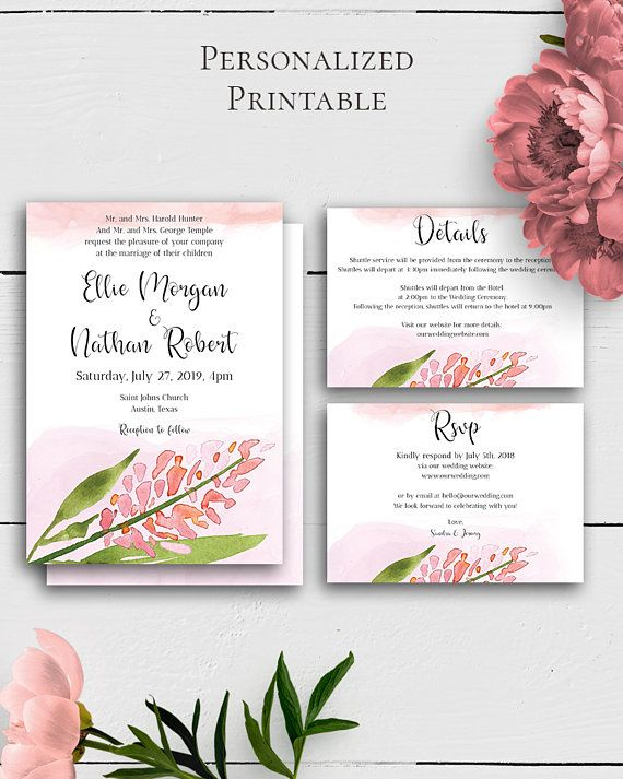 Blush Wedding Suite Template with modern and charming floral and watercolor design for the lovers of the shabby chic style.Build your suite - choose your card combination by Amistyle Digital Art on Etsy
