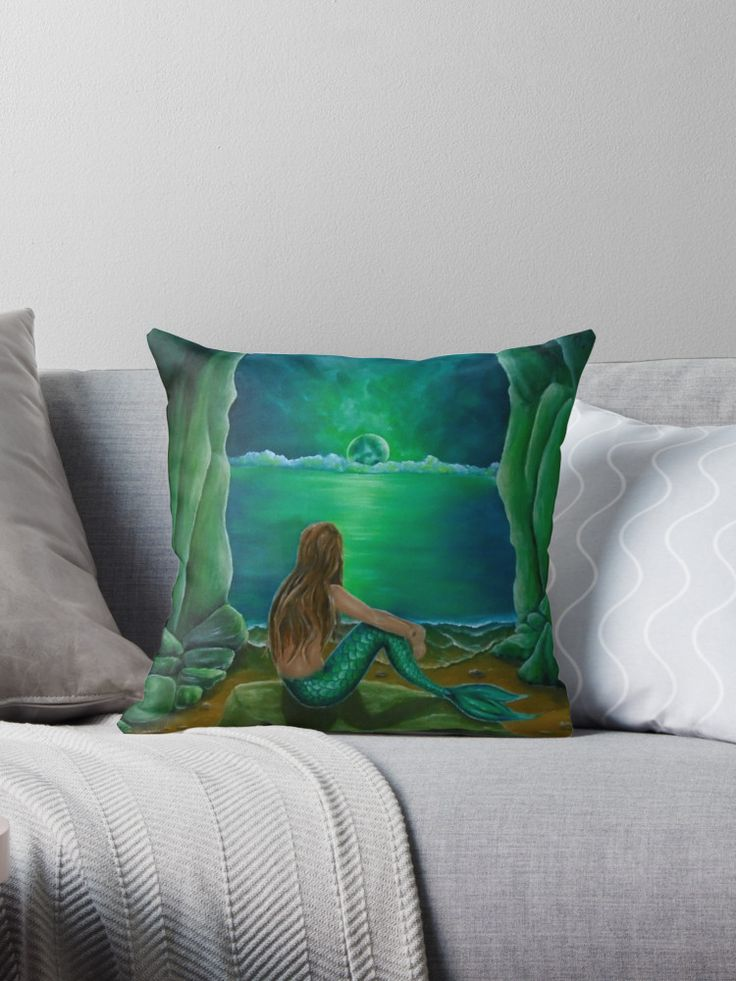 green, living room decor, mermaid, Throw Pillow