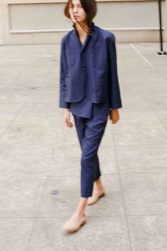bernay jacket and wharf trousers in indigo canvas.