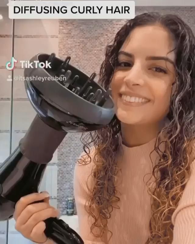 How I Diffuse My Hair Tiktok Tutorial In 2020 Curly Hair Videos Hair Tutorial Hair Diffuser