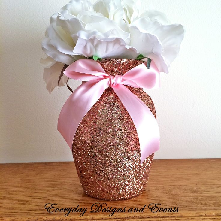 """3 Beautiful Rose Gold Glitter Glass 7"""" Jardin Vases with a Light Pink Ribbon Around the vase neck (color intensity may appear brighter in person). The vases in this particular listing are decorated in"""