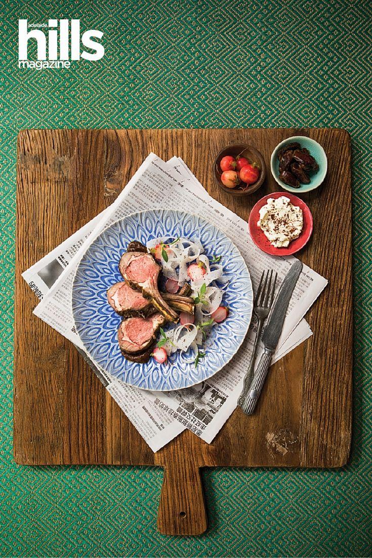 Roast Lamb Rack, Pickled Radishes, Date And Yoghurt Recipe. Recipe from chef Zac Ronayne from The Bridgewater Mill, Adelaide Hills, South Australia.