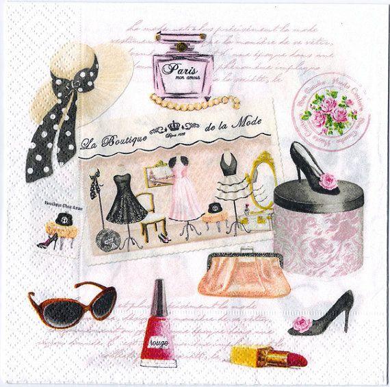 4 Decoupage Napkins  Haute Couture Paris High Fashion  Paris