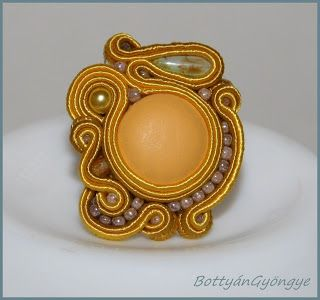 Nyár van! - sujtás gyűrű gombbal / It's summer! - Soutache button ring