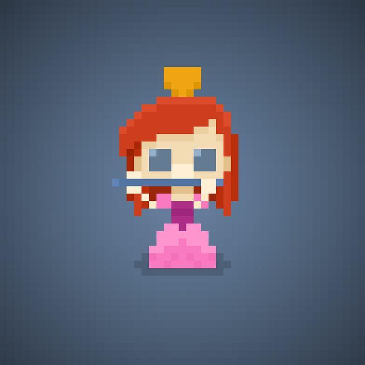 Famous Characters in Pixel Art Anastasia Tremaine from Cinderella #anastasia #anastasiatremaine #redhead #antagonist #matrigna #stepmother #disneyprincess #principessa #principesse #disney #waltdisney #broom #pixelart #pixel #16bit #theoluk