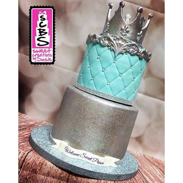 #mulpix Royal Prince inspired baby shower celebration cake with baby blue…