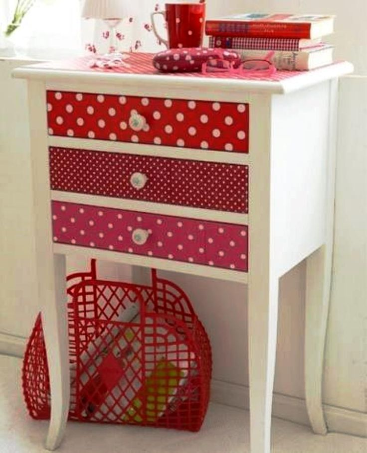 What a cute way to repurpose a dresser. And what a great way to use different sizes of polka dots.