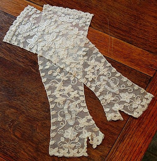 Victorian antique Honiton lace on net wedding gloves, fingerless