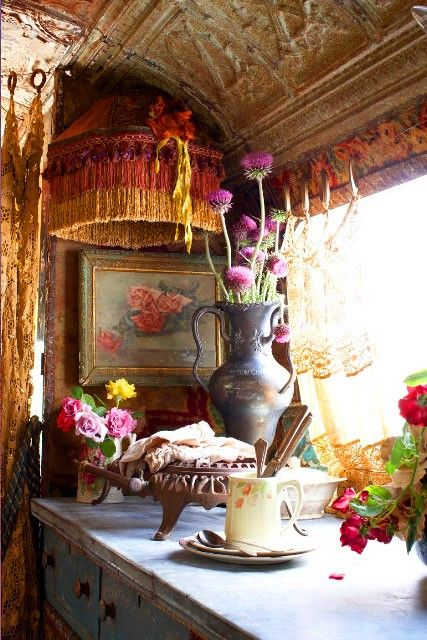 """If I had a gypsy wagon in my backyard, for my own creative space, my """"room of one's own"""", my place of dreams, fantasy, and meditation--I would have THIS."""