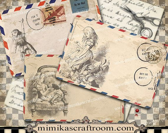 Digital Collage Sheet ALICE AIR MAIL Envelope by mimikascraftroom
