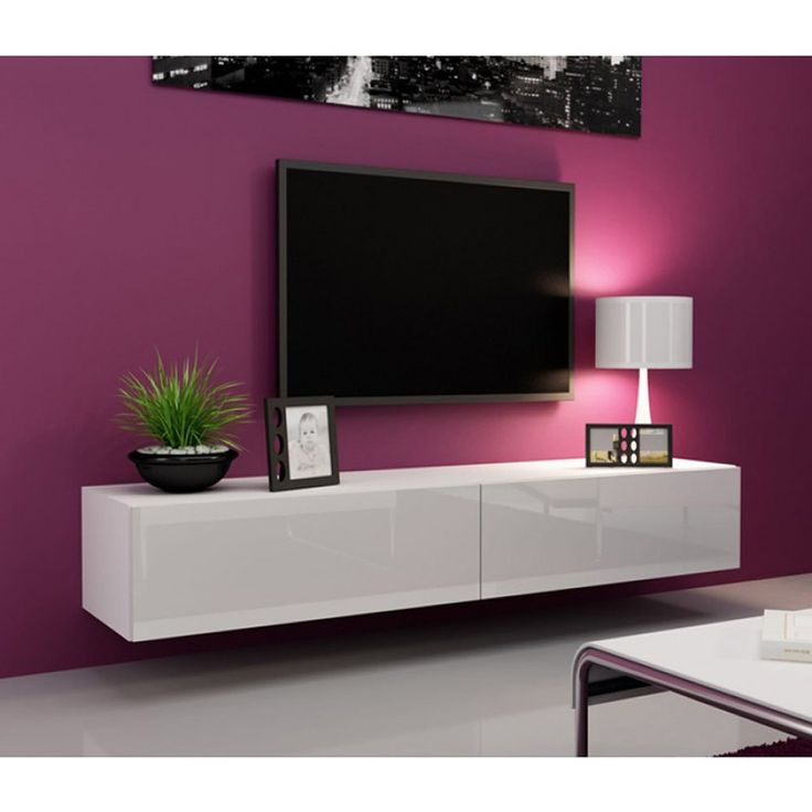 Seattle White TV Stand - High Gloss White TV Stand / European Design Hanging Furniture / Entertainment Center Unit / Central Tv Unit (White) (white)