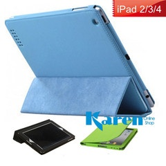 Apple The New iPad 4 iPad 3 iPad2 Leather Case Smart Cover Mat Slim Stand fold blue