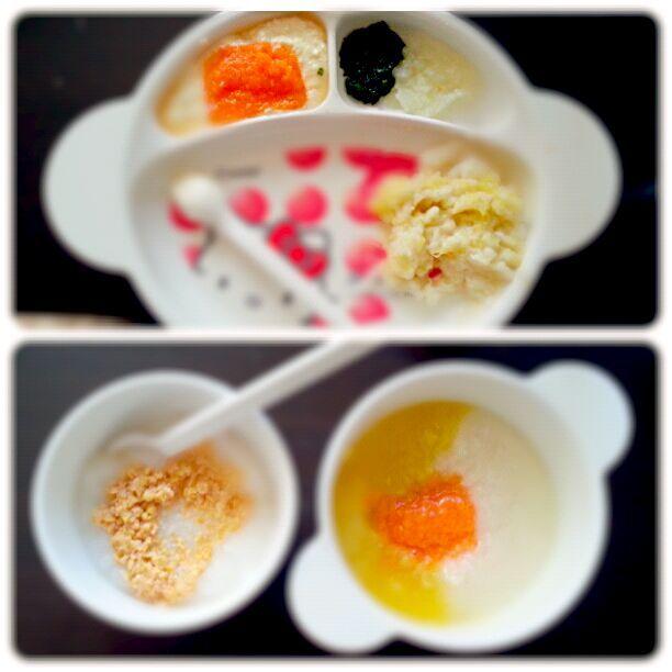 1食目  さつまいもパン粥、小松菜大根、豆腐の人参あん 2食目  納豆ご飯、ポテトのスープ人参のせ(じゃがいも、さつまいも) - 5件のもぐもぐ - 離乳食初期 2回食 by るか