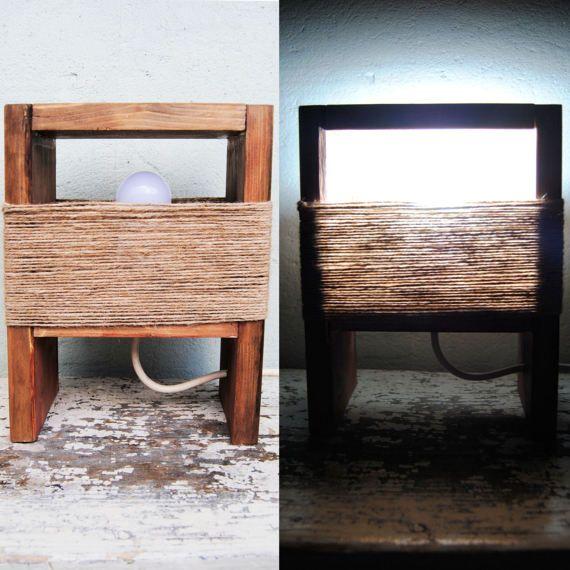 Reclaimed wood table lamp, bedside lamp, Rustic night light,Cottage chic, Barnwood lamp, Woodland Farmhouse decor, Upcycled wood desk light