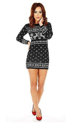 New Ladies Womens Novelty Christmas Xmas Knitted Tunic Retro Jumper Sweater