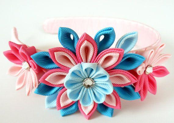 Kanzashi Fabric Flower headband. Pink and turquoise. by JuLVa