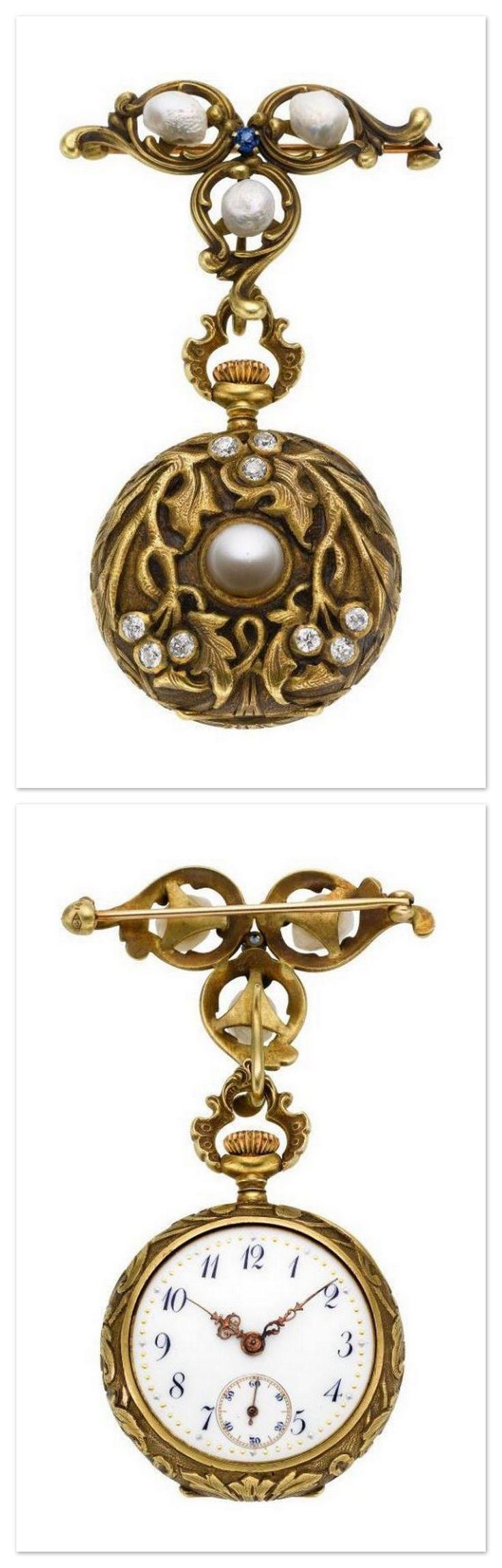 Swiss Art Nouveau Gold, Diamond & Pearl Pendant Watch Lady's Pearl & Enamel Pendant Watch With Chain, circa 1905. | jewelry.ha.com