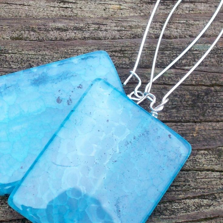 Eileen - Square Light Blue Gemstone Dangle Silver Hoop Earrings - Super Chunky