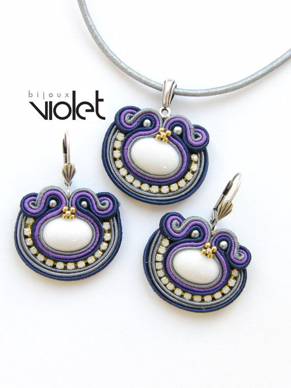 Dark Night Soutache Jewelry Set by Violetbijoux on Etsy, $79.00