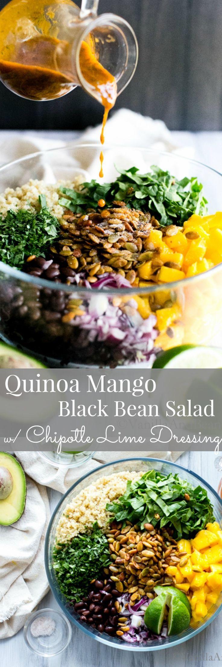 Quinoa Mango Black Bean Salad with an irresistible chipotle dressing! Vegan Recipes | Vegetarian Recipes | Healthy Recipes
