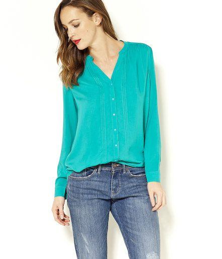 Chemise plissée turquoise Camaïeu 2016