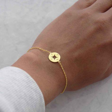 Goldarmband Kompass Kompass Armband zierliche von natashabale