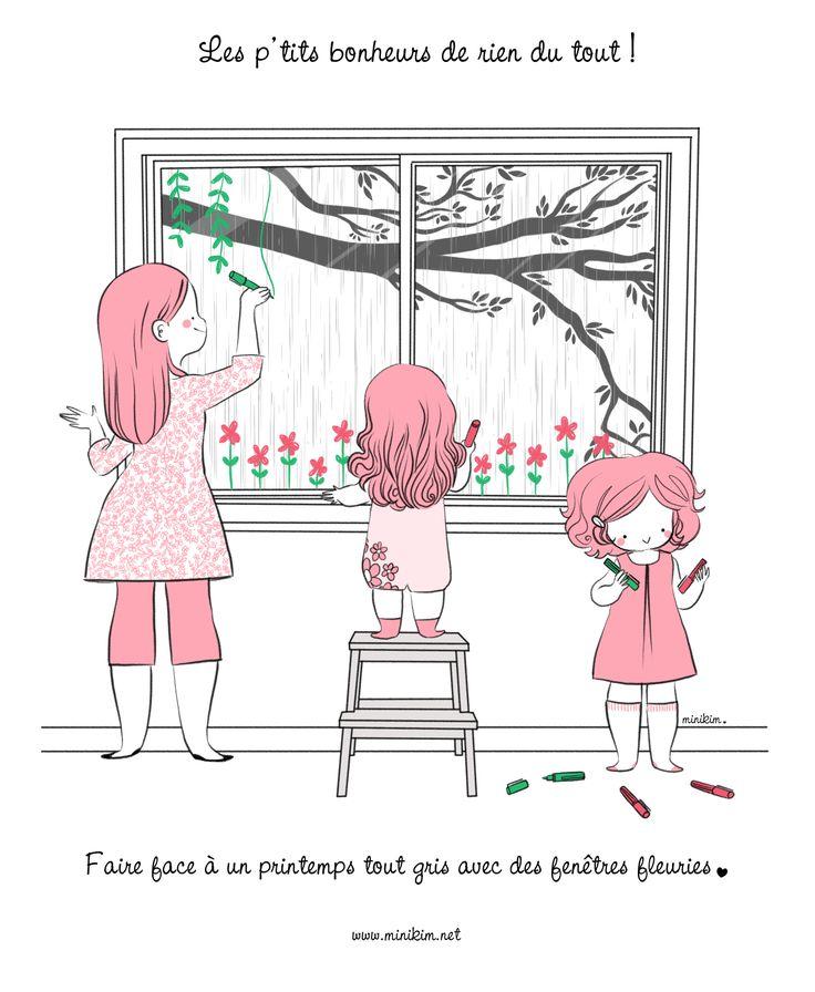 Lire les BD sur www.minikim.net    Dessiner sur la fenètre craie liquide activité de printemps  Vie de famille activités enfants jour pluvieux journée pluvieuse
