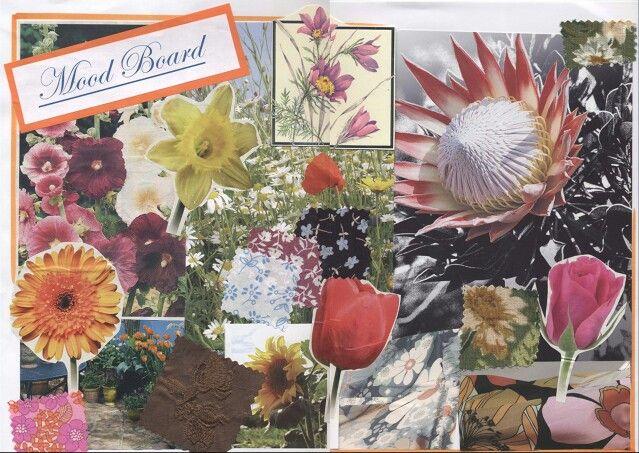 floral mood board gcse textiles aqa theme natural
