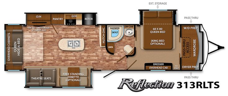 Grand Design RV - Reflection 313RLTS king bed opt, fp, 3 slides, winter pkg avail.