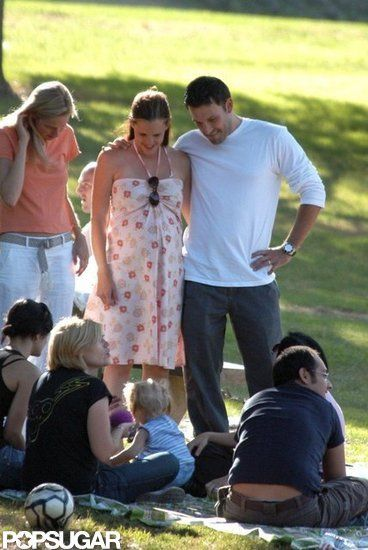 Ben Affleck and Jennifer Garners Sweetest Couple Moments: Ben Affleck and Jennifer Garner attended a family picnic when she was pregnant with Violet in August 2005.