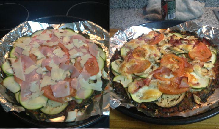 Pizza Veggie con base de espinacas.  En cuanto acabe la peli colgaré la receta y demás info de interés para puerrícolas convencidos.
