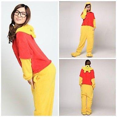 Cute Yellow Winnie Bear Raccoon Adult Coral Fleece Kigurumi Pajamas Animal Sleepwear
