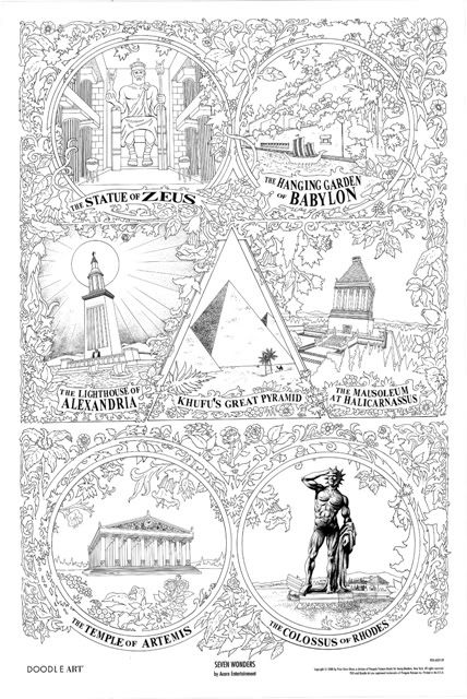 SEVEN WONDERS of the WORLD  doodle art colouring poster: This was uploaded by doodleartposters, FREE jpg download @ photobucket.