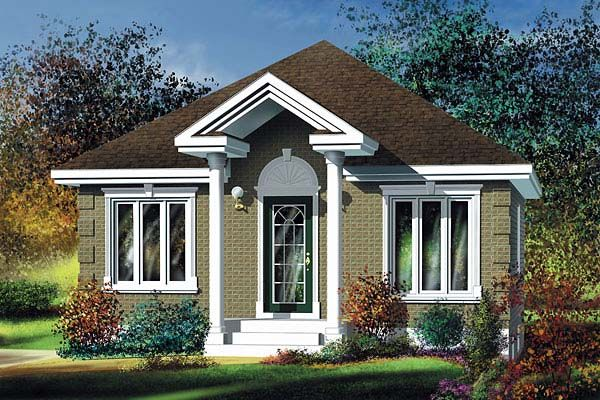 House Plan 49604 | Colonial Plan with 780 Sq. Ft., 2 Bedrooms, 1 Bathrooms