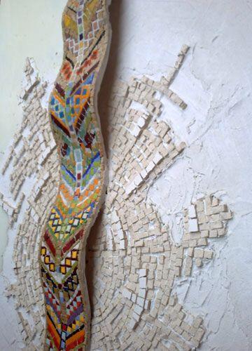 Mosaico su pannello in marmo smalto vetro