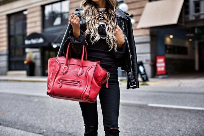 NOVEMBER 9TH, 2016 BY MARIA Crushing On: Red Handbags - Free People Embroidered Top // Topshop Black Jeans // Kate Spade New York Leather Jacket  // Nordstrom Black Booties // Celine Red Bag // Quay Mirrored Sunglasses