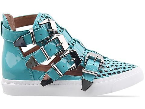 Jeffrey Campbell Indie Hi in Green Punched Leather at Solestruck.com
