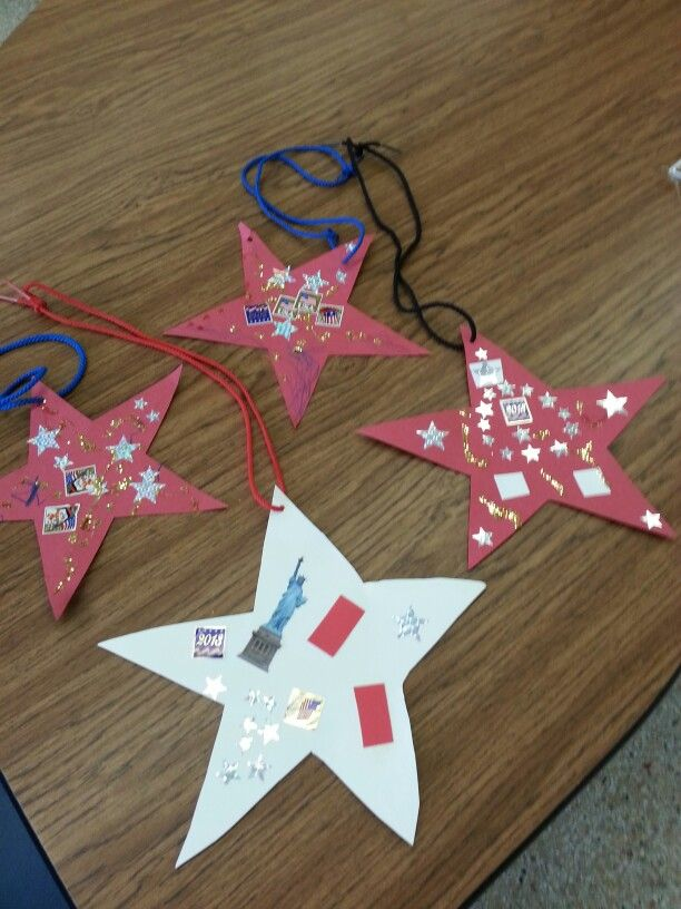 Memorial Day Stars, our students in My special Ed class used patriotic stickers, stars and glitter to make. All you need is a hole punch and shoelace for a wearable necklace!