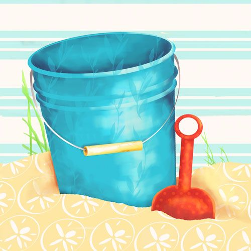 Shovel and Blue Pail by Oopsy daisy www.sweetretreatkids.com #sweetretreatkids #beachart #beachprint #oceanart #oceanprint #kidswallart #wallart