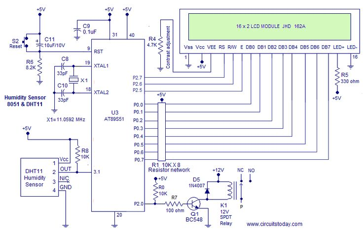 Humidity Sensor using 8051-is a very useful project to measure Humidity of the surrounding atmosphere using 8051 micro controller.