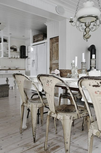Dining Room White Grey Black Chippy Shabby Chic Whitewashed Cottage F