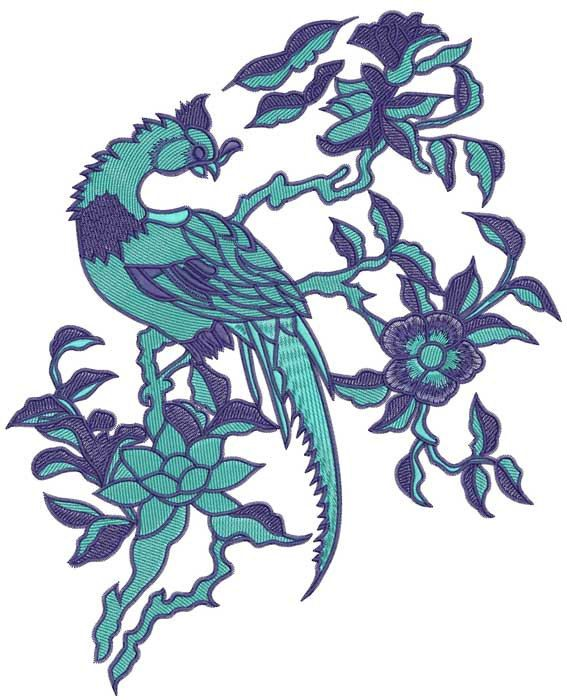 Color peacock embroidery design no by