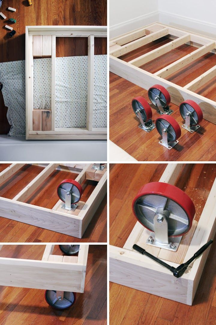 DIY Bed platform on casters. This is made for a small bed, but