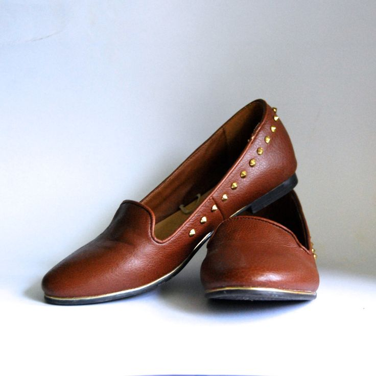 Brown leather Shoes, Studded flats, studded leather shoes by DockedAndHome on Etsy
