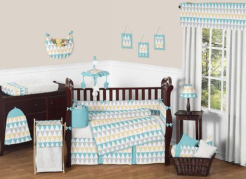 Modern Turquoise White Gray Yellow Gender Neutral Baby Boy Girl Crib Bedding