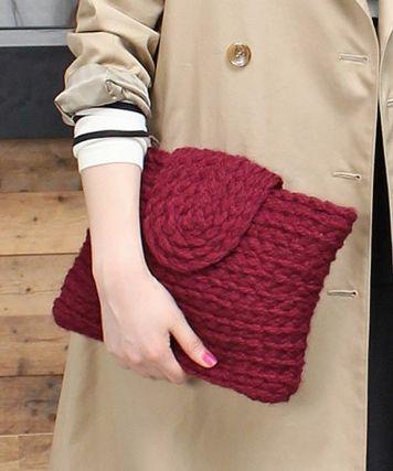 Knit clutch bag bordeaux - Bertini