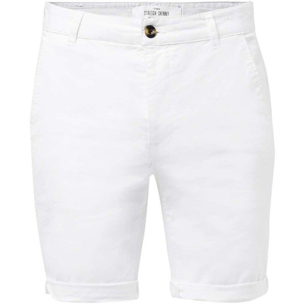 TOPMAN White Stretch Skinny Chino Shorts ($29) ❤ liked on Polyvore featuring men's fashion, men's clothing, men's shorts, white, mens chino shorts, mens stretch waist shorts, mens white shorts, mens long shorts and mens white chino shorts