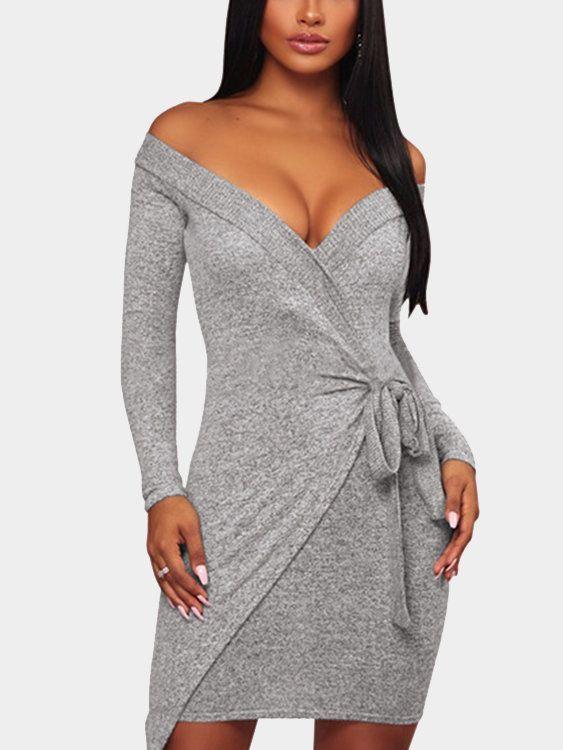 b80c5e4fe3e5 Light Grey Off Shoulder Low Cut V-neck Self-tie Mini Dress - US ...