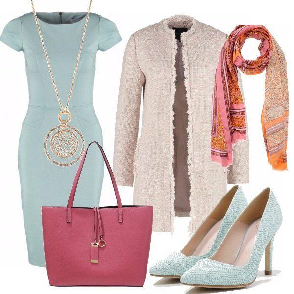 Ci avviciniamo alla primavera con questo outfit. In coordinato il tubino e le décolleté verde menta, per un'eleganza bon ton. Spiccano in contrasto il rosa fragola e l'arancio della shopper e della sciarpa.