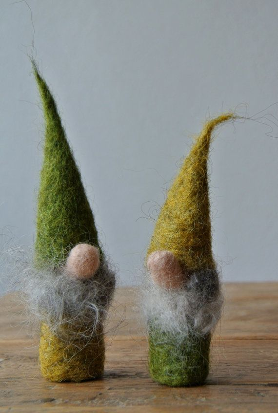 Two felted gnomes with fluffy beard; felt gnomes